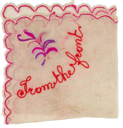 Embroidered handkerchief. 'From the front'
