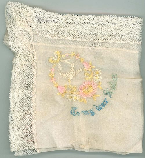 Embroidered handkerchief: 'To my dear Sister'