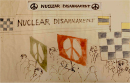 Nuclear disarmament march sketch by Gerald Holtom, copyright University of Bradford Special Collections and Trustees of the Commonweal Collection
