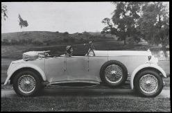 George Lanchester's daughter Nancy in the driver's seat of a 4-door Straight 8 Lanchester, 1930.([reference no. LAN/7/57]. Copyright Coventry University.