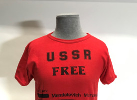 "MS 254 A980/5/1/3 Red t-shirt with the text ""USSR Free Federov, Mendelevich, Murzhenko"" on the front. Copyright: University of Southampton Special Collections."